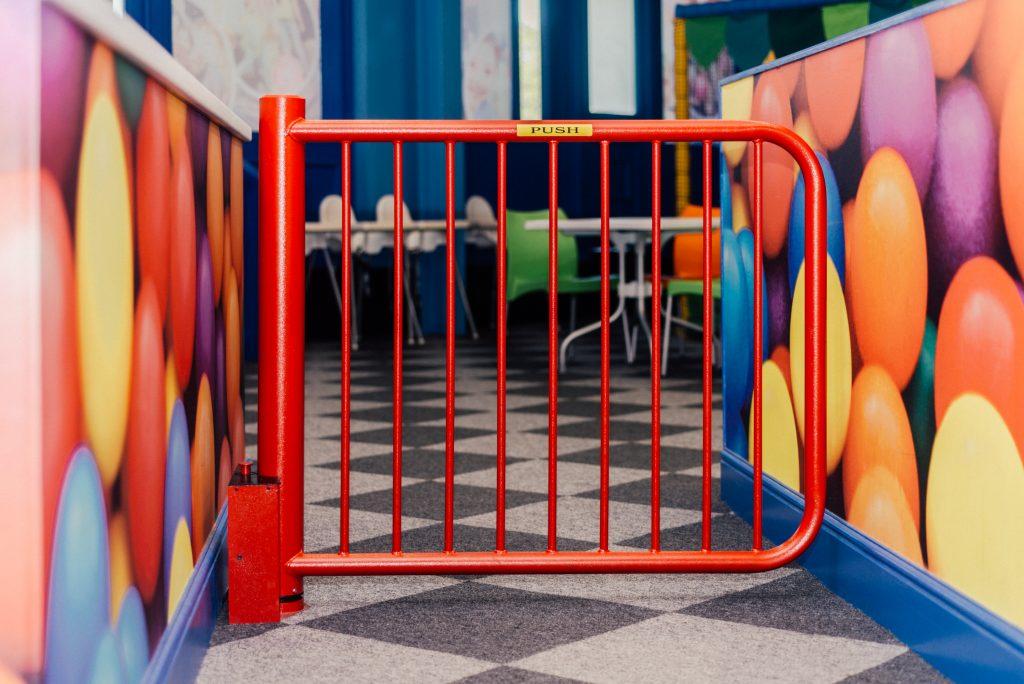 Red Mono Hinge Self CLosing Gate